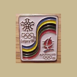 1988 CALGARY OLYMPICS PIN ALBERTVILLE 1992 BRIDGE PIN