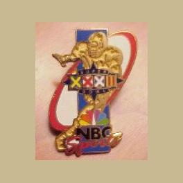 RARE SUPER BOWL 32 NBC SPORTS MEDIA PIN BRONCOS VS PACKERS
