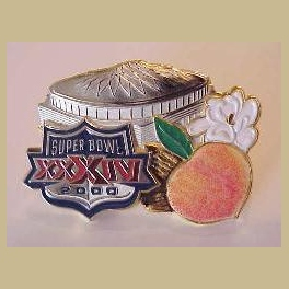 SUPER BOWL 34 MEDIA PRESS PIN INDIVIDUALLY  LOW  UNDER 100 MINT INTACT FUZZY PEACH