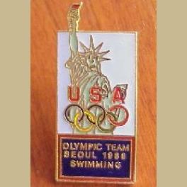 1988 SEOUL OLYMPICS PIN SWIMMING US TEAM JANET EVANS MATT BIONDI