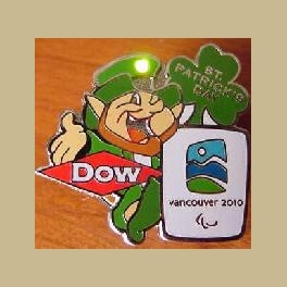 2010 VANCOUVER PARALYMPICS PIN DOW ST PATRICKS DAY BLINKING LIGHT