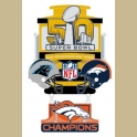 PRE-ORDER 2016 SUPER BOWL LARGE DANGLE BRONCOS VS PANTHERS CHAMPION PIN