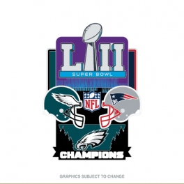 SUPER BOWL 52 MEDIUM CHAMPION PIN EAGLES VS PATRIOTS
