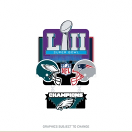 SUPER BOWL 52 LARGE DANGLE CHAMPION PIN EAGLES VS PATRIOTS