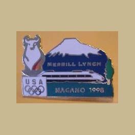 NAGANO 1998  OLYMPIC MERRILL LYNCH SPONSOR FUJI BULLET TRAIN ENGLISH PIN