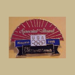 NAGANO 1998  OLYMPIC MERRILL LYNCH GUEST RED FAN PIN