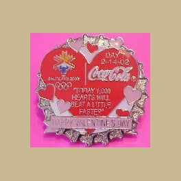 SALT LAKE CITY 2002 OLYMPICS COCA COLA PIN OF DAY 7 VALENTINES DAY BOTTLE CAP PIN