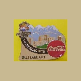 SALT LAKE CITY OLYMPICS COCA COLA ON THE ROAD SALT LAKE CITY SPONSOR PIN