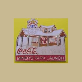 RARE SALT LAKE CITY OLYMPICS COCA COLA MINERS PARK LAUNCH 11-01-01 PIN
