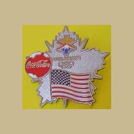 SALT LAKE CITY OLYMPICS COCA COLA USA FLAG SPONSOR PIN