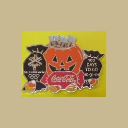 SALT LAKE CITY OLYMPICS COCA COLA HALLOWEEN 10-31-01 100 DAYS TO GO PIN LTD 500