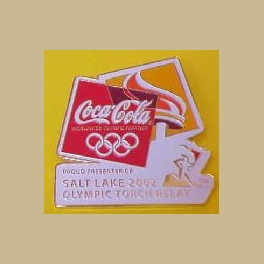 SALT LAKE CITY OLYMPICS COCA COLA TORCH RELAY PRESENTER SPONSOR PIN