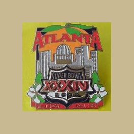 NFL SUPER BOWL 34 ATLANTA PEACH  SKYLINE PIN