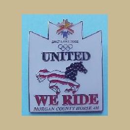 SALT LAKE CITY 2002 OLYMPIC EQUESTRIAN MORGAN COUNTY PATRIOTIC HORSE 4H UNITED WE RIDE PIN