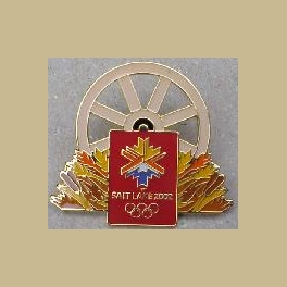 RARE SLC 2002 OLYMPIC WAGON WHEEL PIN