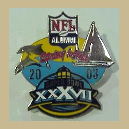 SUPER BOWL 37 SAN DIEGO NFL ALUMNI PROMOTIONAL CARING FOR KIDS CHARITY BUCCANEERS RAIDERS PIN