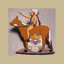 VERY RARE  SLC 2002 OLYMPIC INDIAN ON HORSE NATIVE AMERICAN PROTOTYPE PIN