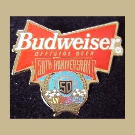 BUDWEISER BEER NASCAR 50TH ANNIVERSARY 1998 RACE CAR PIN