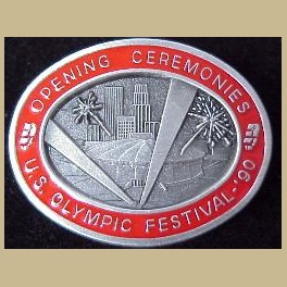 US OLYMPIC FESTIVAL 1990 MINNEAPOLIS OPENING CEREMONIES RED BORDER PIN