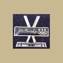 1994 LILLEHAMMER OLYMPICS JOHN HANCOCK CROSSED HOCKEY STICKS PIN