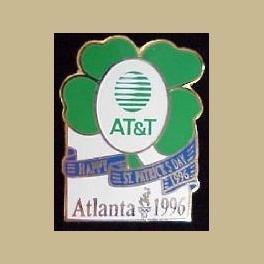 ATLANTA 1996 OLYMPICS PIN ATT TELEPHONE ST PATRICKS HOLIDAY 96 SHAMROCK