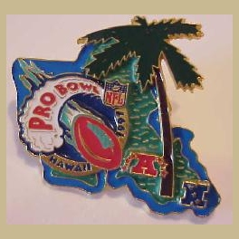 VERY RARE 1997 ONLY PRO BOWL PRESS PIN PRODUCED  INDIV D ON BACK TO 350