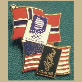 1994 LILLEHAMMER OLYMPICS PIN NORWAY FLAG ATLANTA USA FLAG BRIDGE PIN