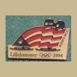 1994 LILLEHAMMER OLYMPICS PINS PUERTO RICO BOBSLED TEAM FLAG PIN