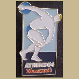 VERY RARE 2004 ATHENS OLYMPICS PINS NEWSWEEK MEDIA PIN PROTOTYPE YELLOW HAIR LTD ED 50