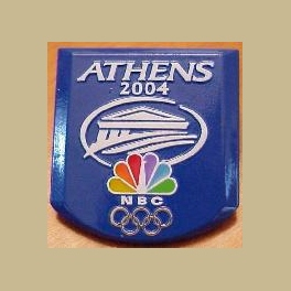 VERY RARE 2004 ATHENS OLYMPIC PINS NBC PRESIDENT EBERSOL MEDIA PIN THICK METAL RAISED LETTERS