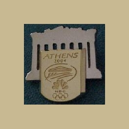 VERY RARE 2004 ATHENS OLYMPICS PINS NBC CHAIRMANS MEDIA PIN GOLD PIN ON SILVER PIN
