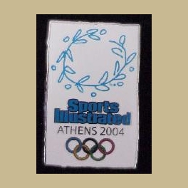 RARE 2004 ATHENS OLYMPIC PINS SPORTS ILLUSTRATED MEDIA PIN WREATH SHARD SHAPE DESIGN