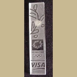 RARE 2004 ATHENS OLYMPIC PINS RARE VISA SPONSOR GUEST PIN CLEAR LUCITE ETCHED 2-18 LONG