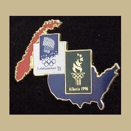 1994 LILLEHAMMER OLYMPIC PINS ATLANTA 1996 BRIDGE PIN COUNTRY MAPS
