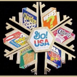 RARE SLC OLYMPIC PINS GENERAL MILLS AMBUSH MARKETING 7 PC PUZZLE SET BOXED 30 PIN SHIPPING