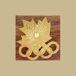 1994 LILLEHAMMER OLYMPIC PINS LARGE ALL GOLD CANADA NOC MAPLE LEAF PIN