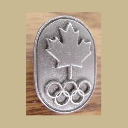 1994 LILLEHAMMER OLYMPIC PINS PEWTER CANADA NOC RAISED MAPLE LEAF RINGS PIN