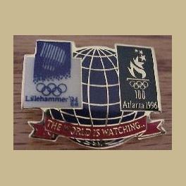 1994 LILLEHAMMER OLYMPIC PINS ATLANTA BRIDGE WORLD IS WATCHING PIN