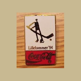 1994 LILLEHAMMER OLYMPIC PINS COCA COLA ICE HOCKEY CLOISONNE