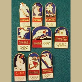 1994 LILLEHAMMER OLYMPIC 9 PIN SET COCA COLA BEAR SPORT CLOISONNE 9 PIN SHIPPING-CLICK PHOTO