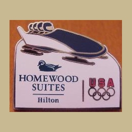 2006 TORINO OLYMPIC PIN HOMEWOOD SUITES HOTEL USA TEAM SPONSOR 4 MAN BOBSLED