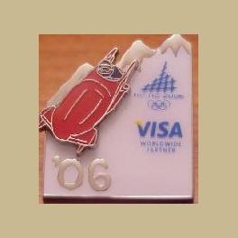 2006 TORINO OLYMPIC PINS VISA SPONSOR 06 BOBSLED PIN ON PIN