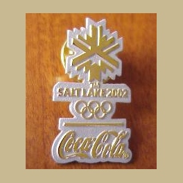 2002 SALT LAKE CITY OLYMPIC PINS COCA COLA GOLD  SILVER SNOWFLAKE LOGO