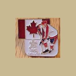 1988 CALGARY OLYMPIC PINS CANADA FLAG ICE HOCKEY PLAYER
